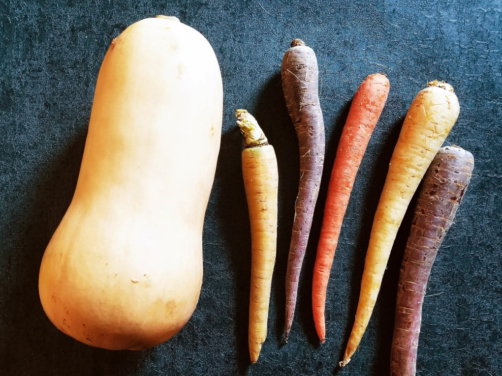 Butternut squash and rainbow carrots