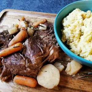 Paleo Root Vegetable Pot Roast With Rutabaga Mash and Turnips