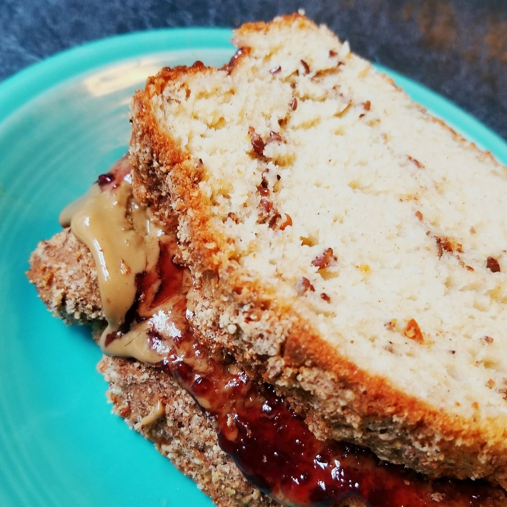 Bob's Red Mill Gluten-Free Wonderful Bread, with Sunbutter, and champagne raspberry jelly sandwich