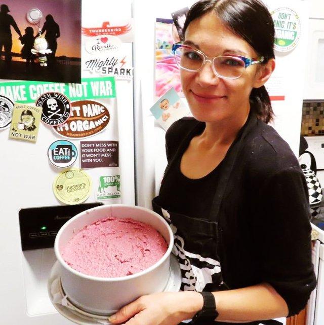 Give It A Whirl Girl with the Vegan Dark Chocolate Raspberry Cheesecake before the ganache