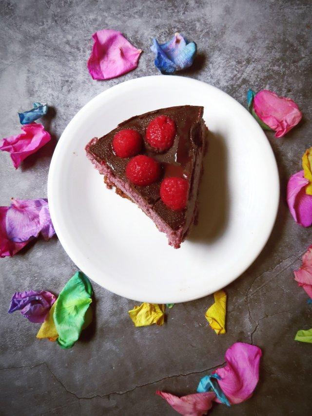 A nice slice of the Vegan Dark Chocolate Raspberry Cheesecake