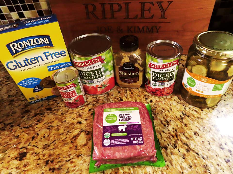 Ingredients I used for the SkinnyTaste Cheeseburger Casserole