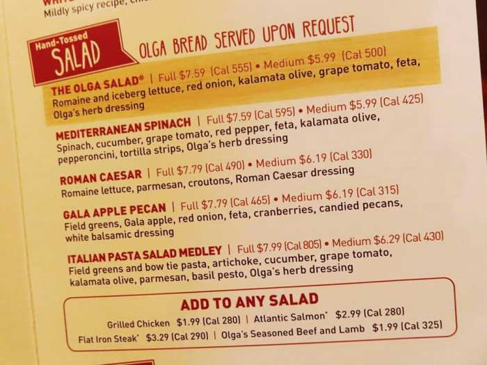 Olga's salads on the menu