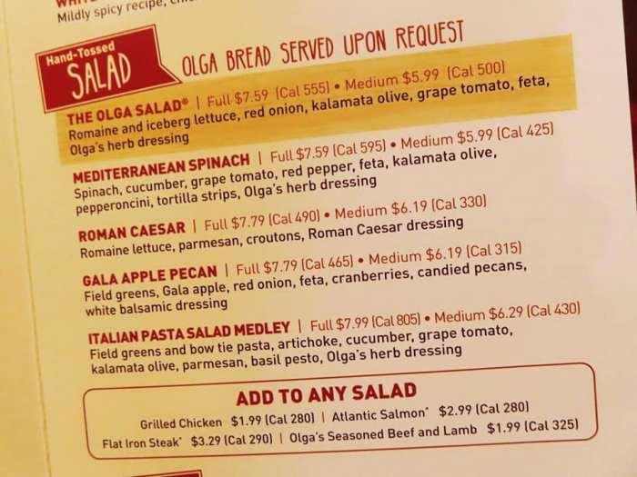 Olga's salads on the menu