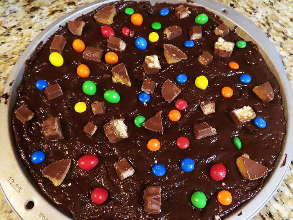 Halloween Candy Brownie Pizza before going in the oven