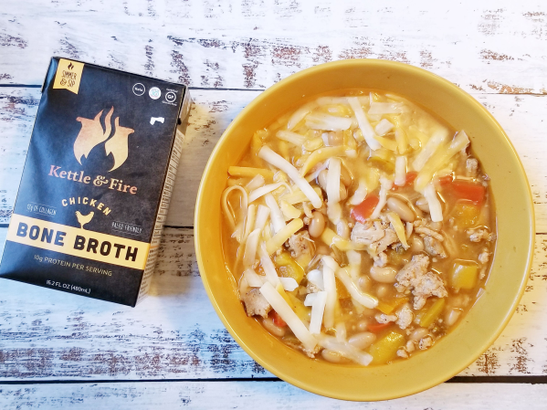 White Chicken Chili made with Kettle & Fire Chicken Bone Broth