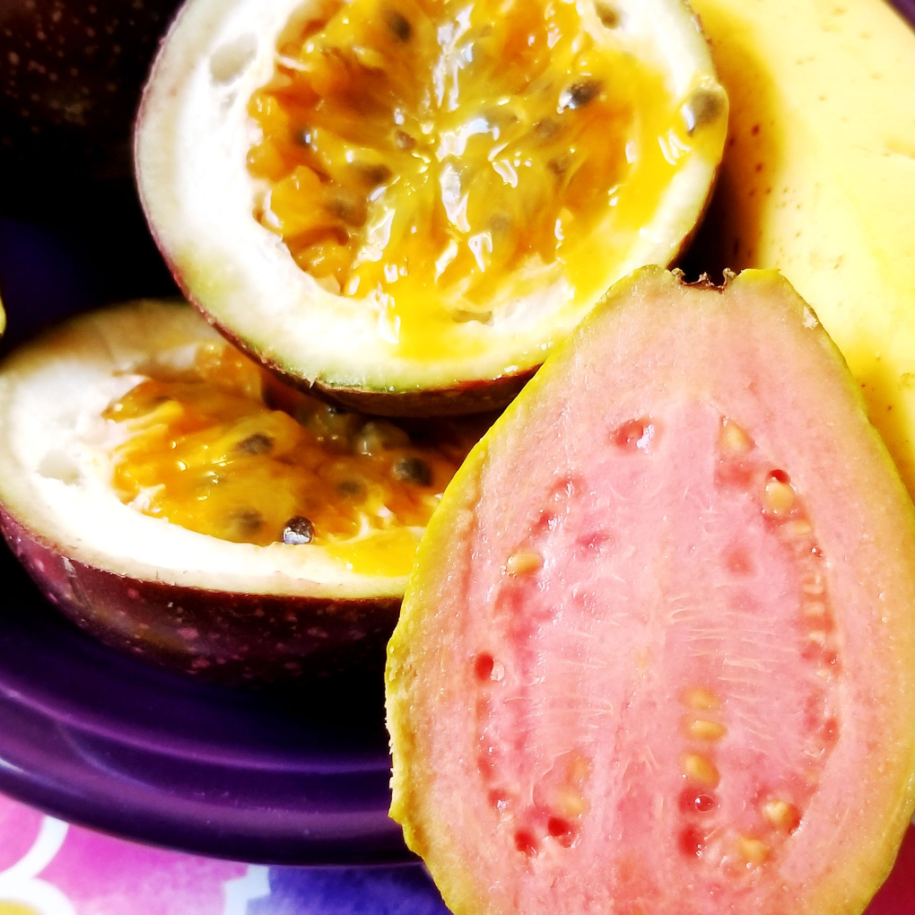 Close-up of the passion fruit and the guava