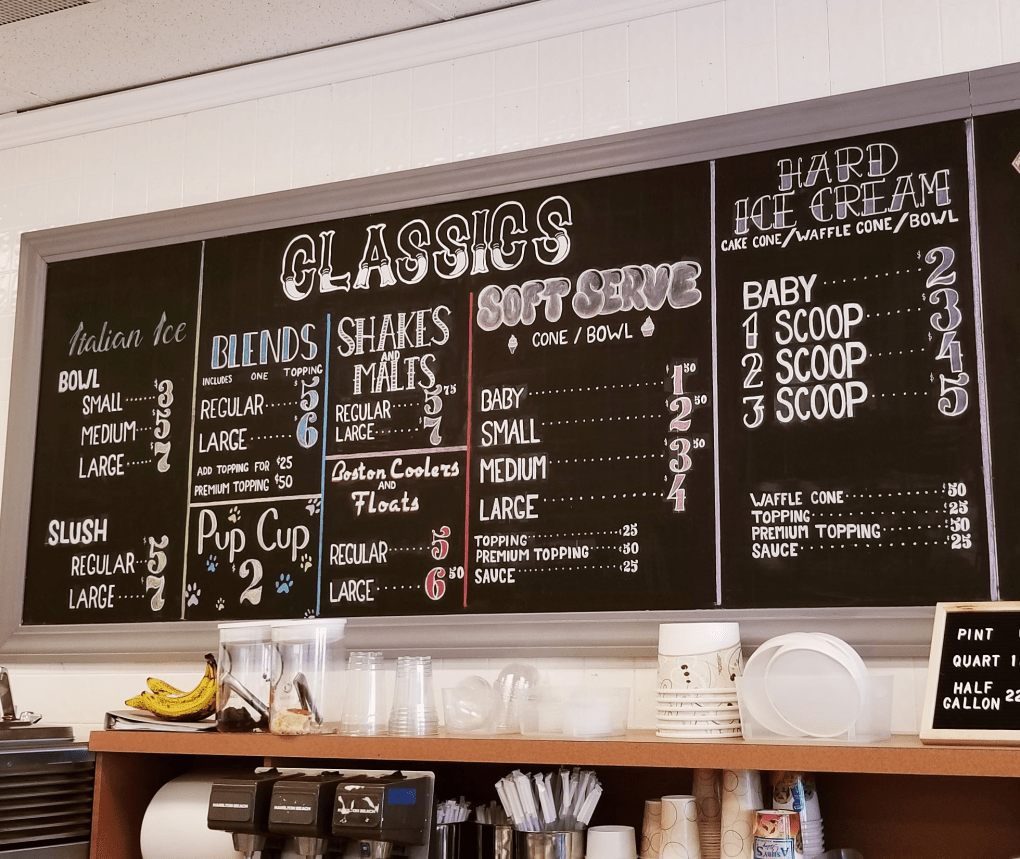 Menu board at Modern Cone