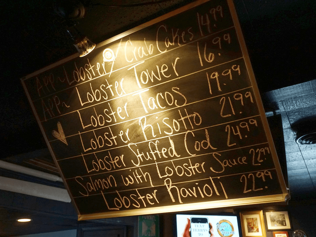Lobster Lover's February menu board at Terry's Terrace