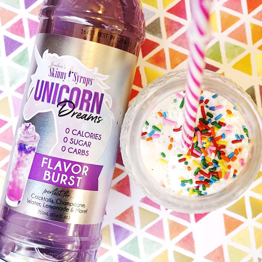 Jordan's Skinny Syrup - Unicorn and a skinny unicorn milkshake made with vanilla Halo Top ice cream!