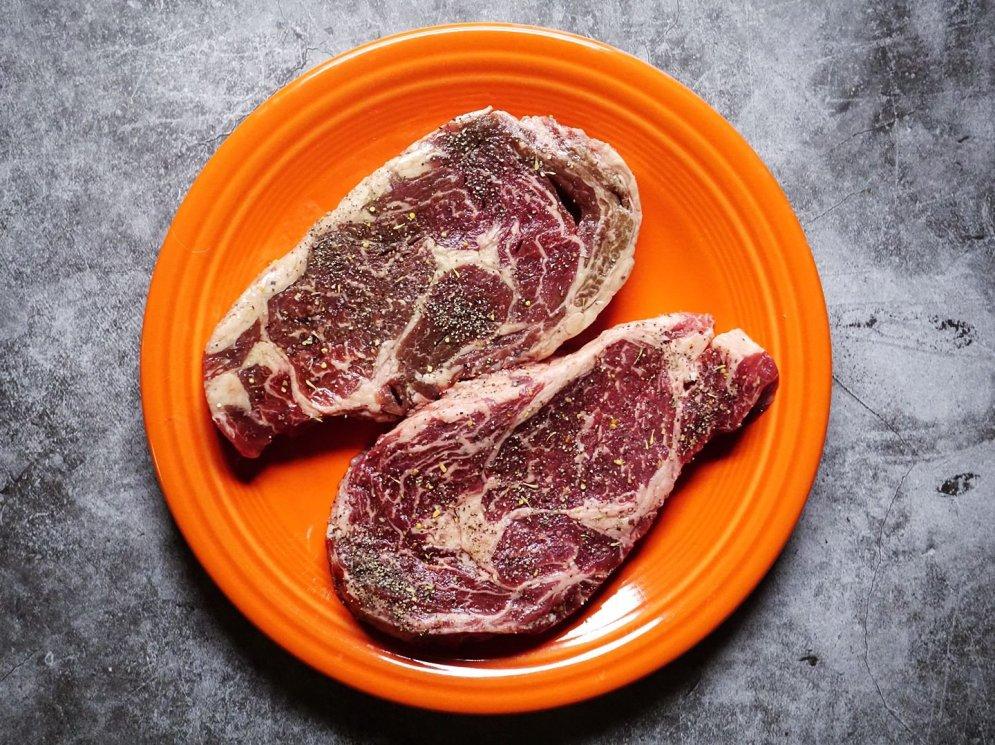 ButcherBox Ribeye Steaks seasoned with salt & pepper