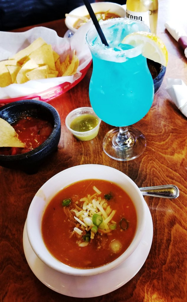 An Electric Kiwi Margarita and a bowl of chicken tortilla soup at the Crazy Gringo Mexican Cantina