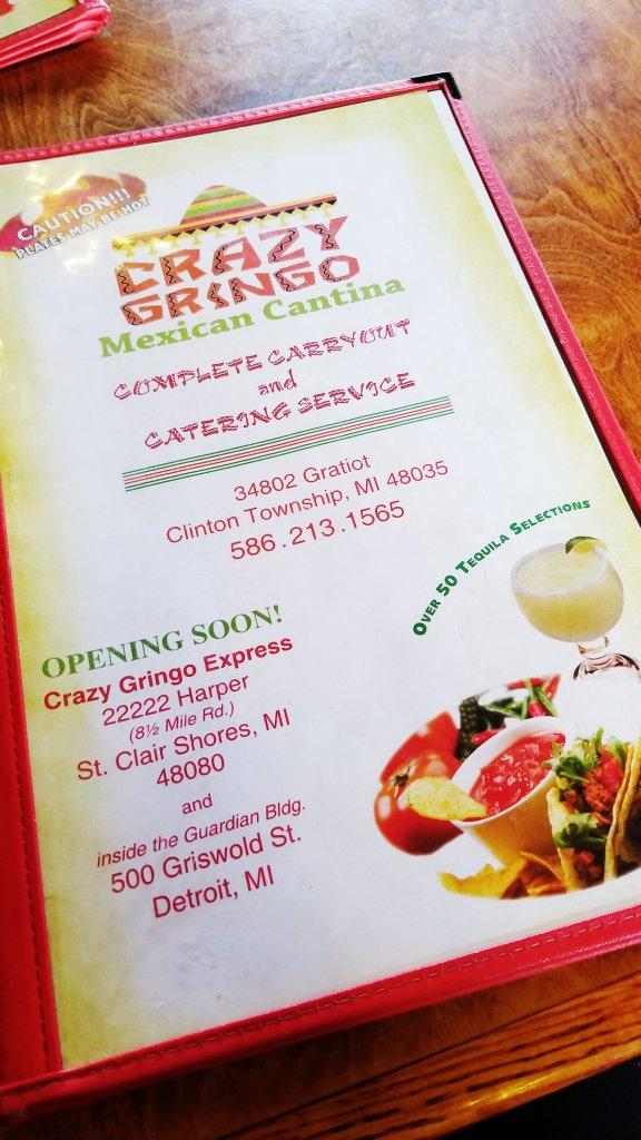 Crazy Gringo Clinton Township Menu