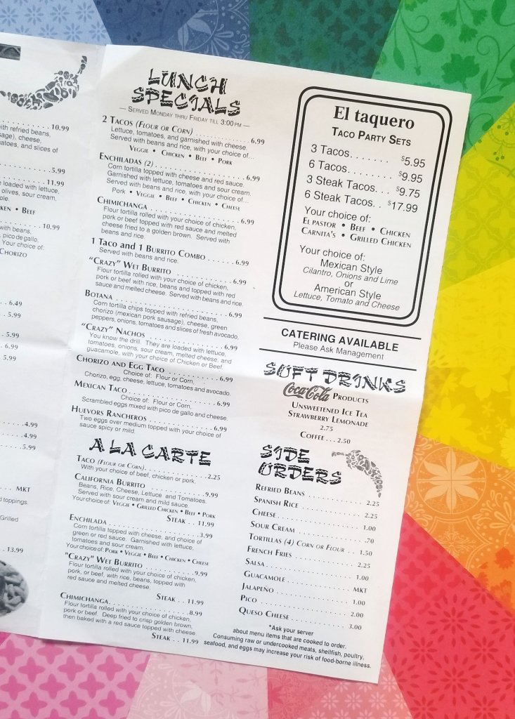 Lunch specials at Crazy Gringo Mexican Cantina are available Mon-Fri until 3 PM - Lunch menu Crazy Gringo Mexican Cantina