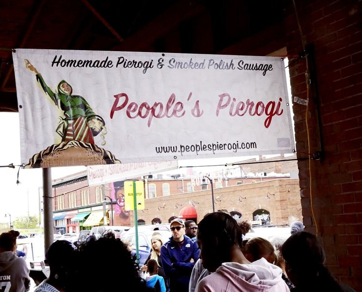 Grab some fresh pierogi at Eastern Market! They must be great because the line was very long here!