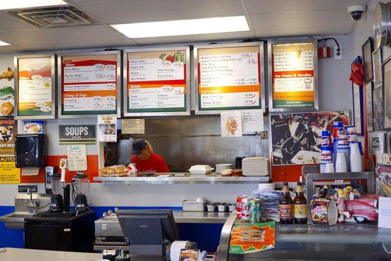 The menu at Seeburger's Cheeseburgers