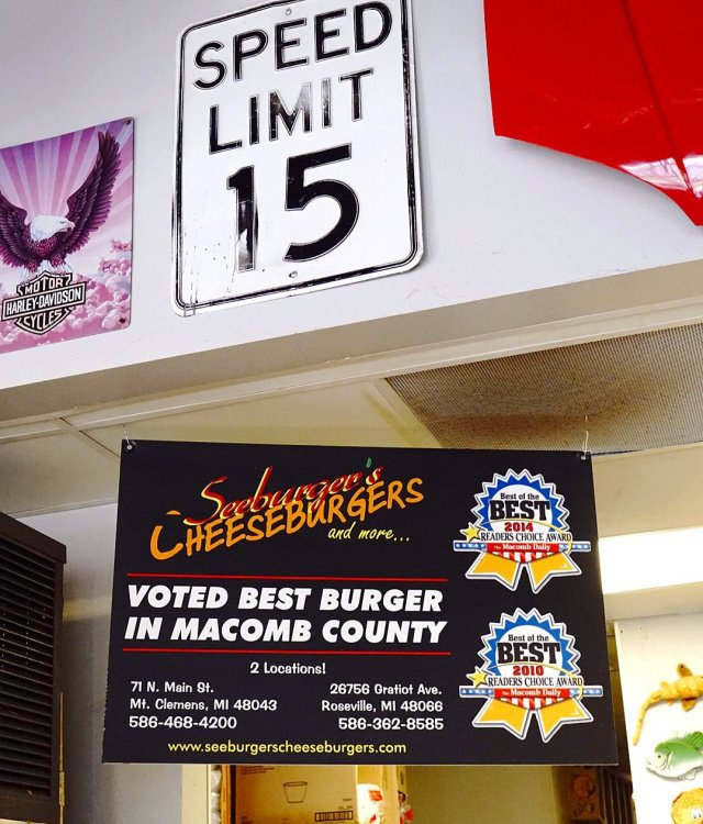 These are award-winning burgers at Seeburger's Cheeseburgers