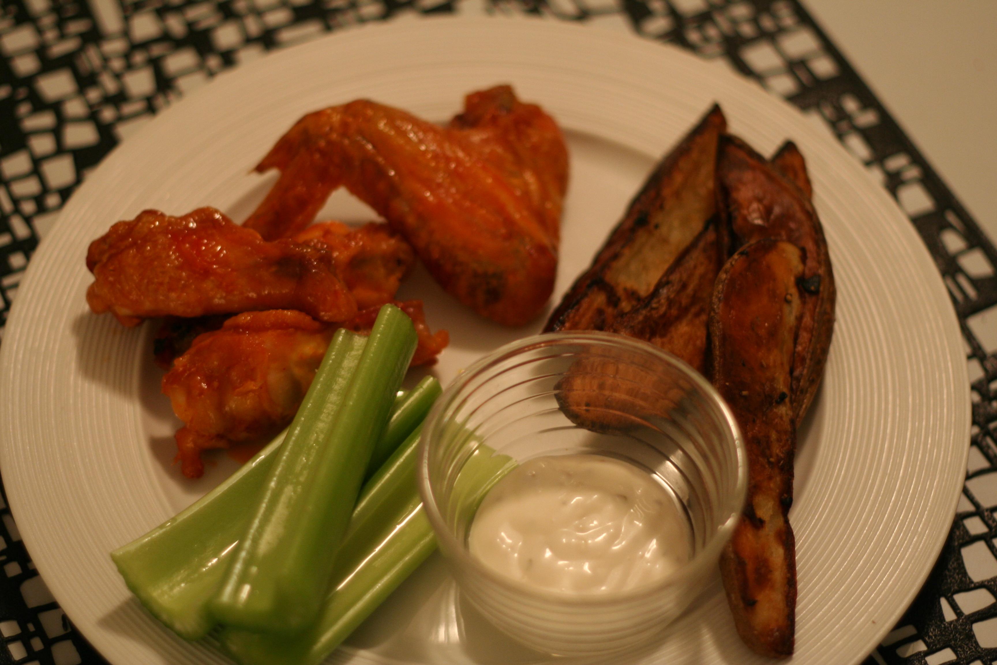 crispy oven-baked buffalo chicken wings & potato wedges