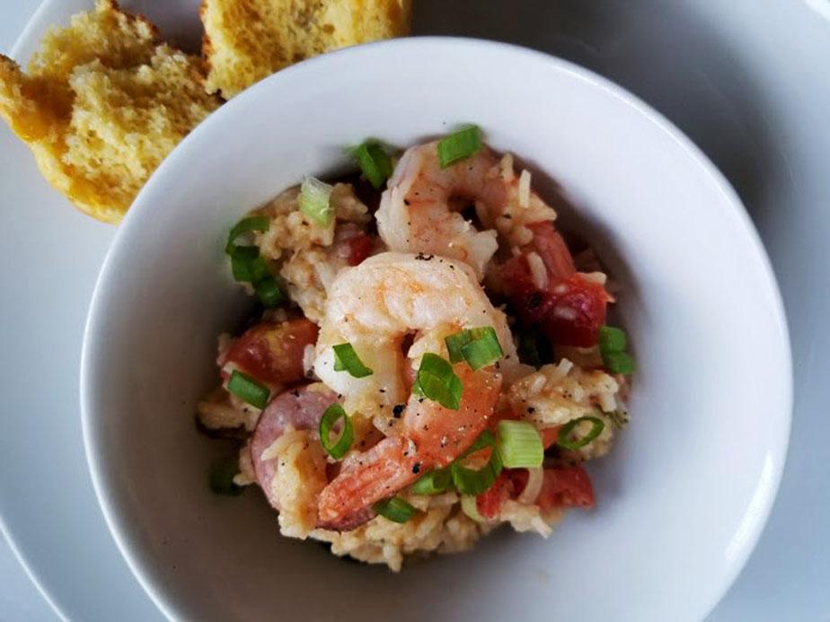 spicy jambalaya with shrimp + sausage
