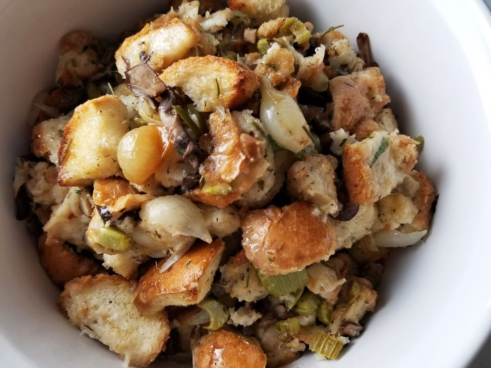herb stuffing with mushrooms and roasted pearl onions