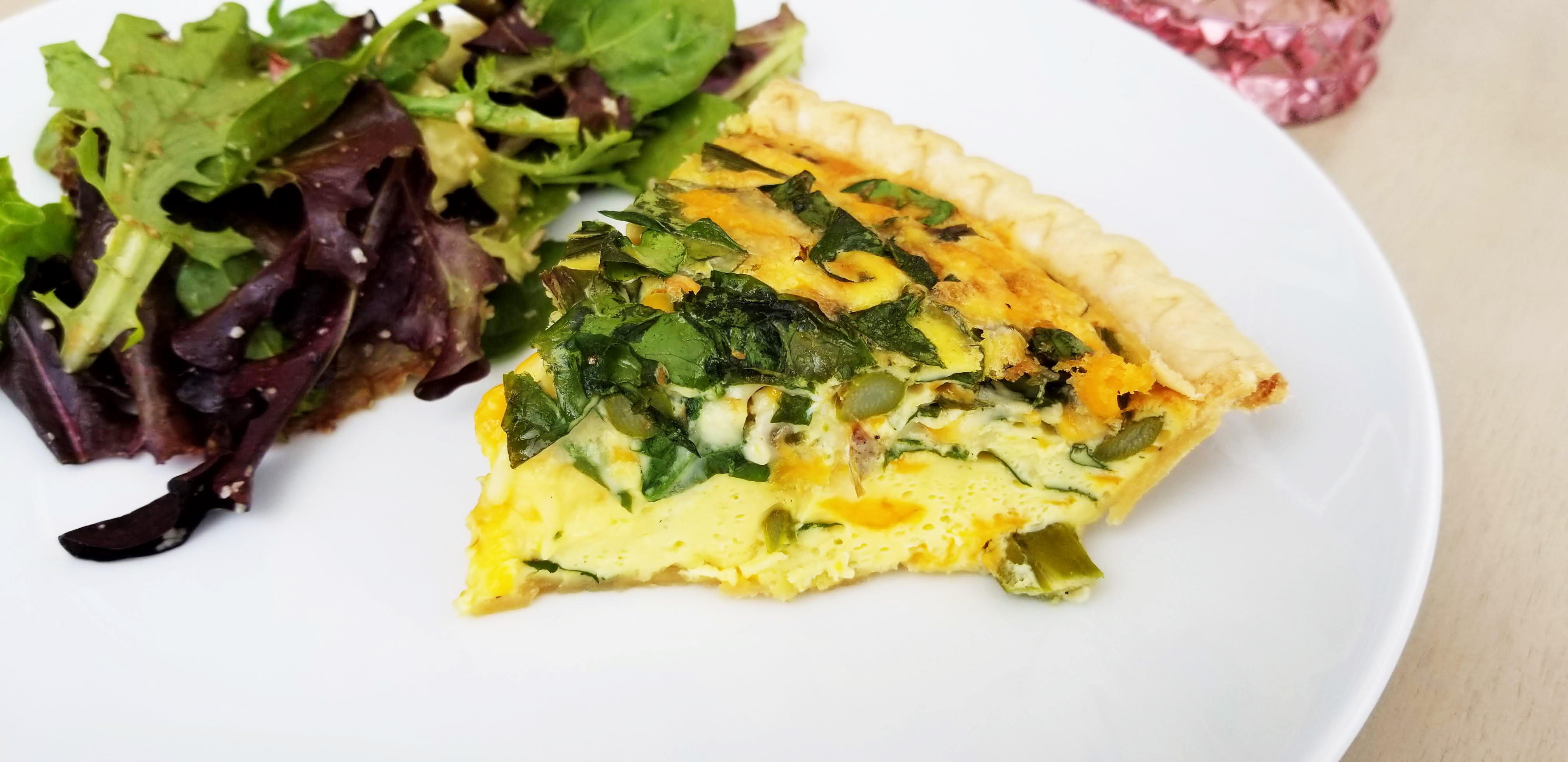 summer roasted asparagus, spinach and cheese quiche