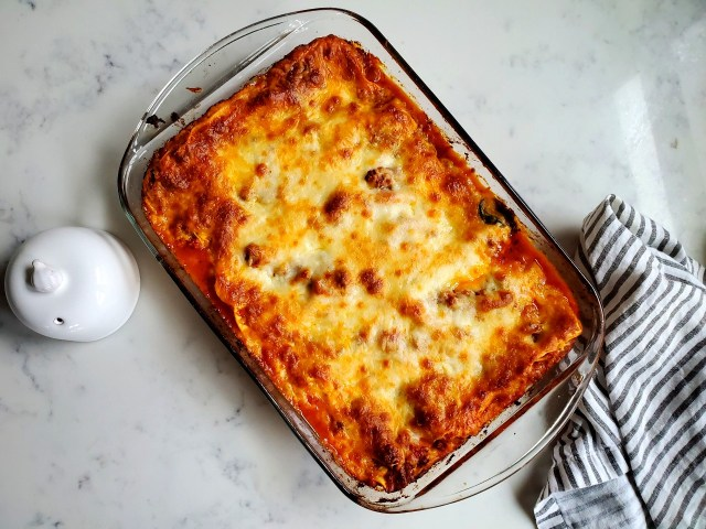 Top view of cheesy, meaty lasagna recipe.