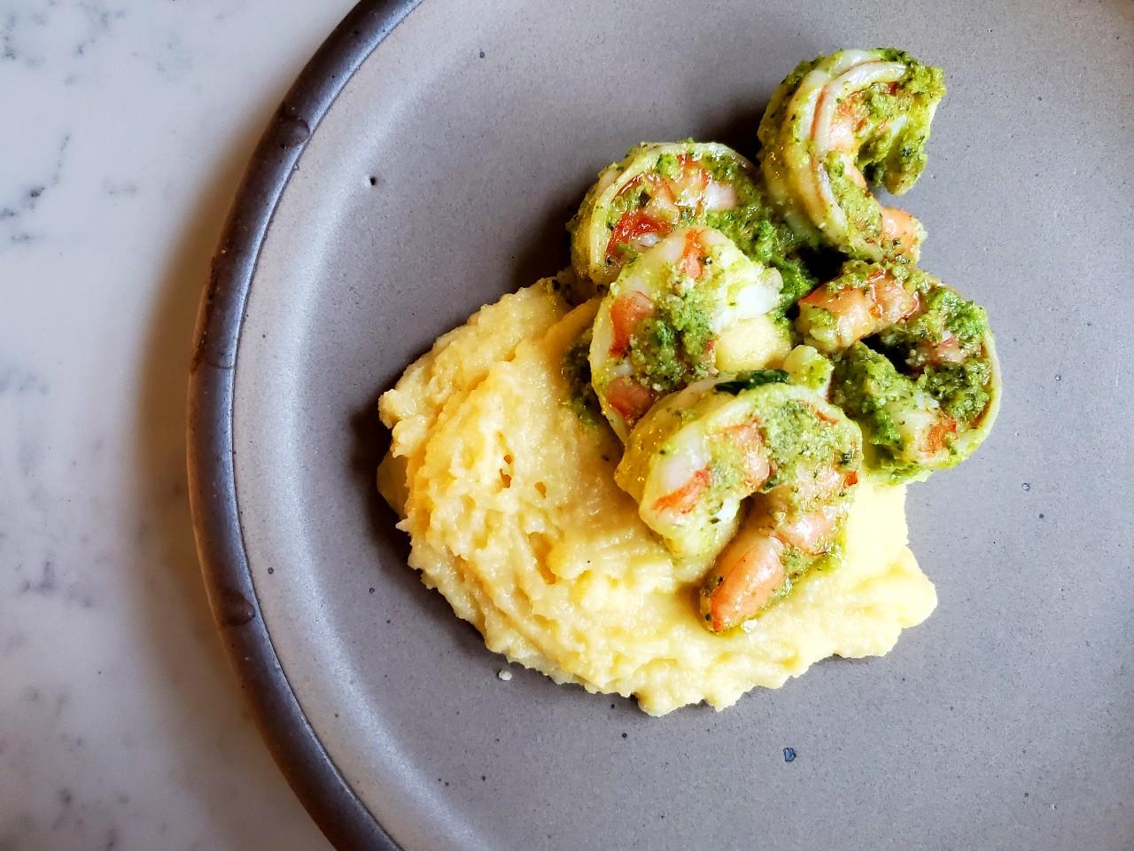 garlic scape, spinach + pepitas pesto