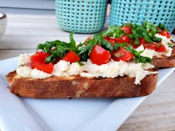 White Bean + Roasted Garlic Puree on Grilled Bread - A Vegetarian Recipe