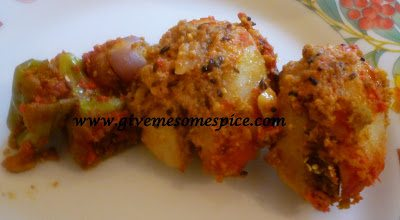 STUFFED VEGETABLE CURRY (ringna bateta nu bharelu shak) in microwave