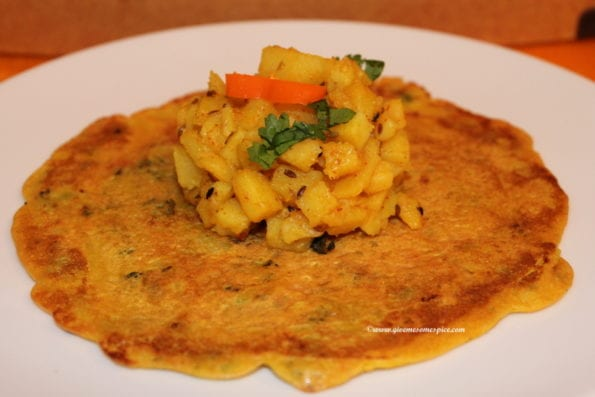Pudlas - Gujarati savoury pancakes made with chickpea flour