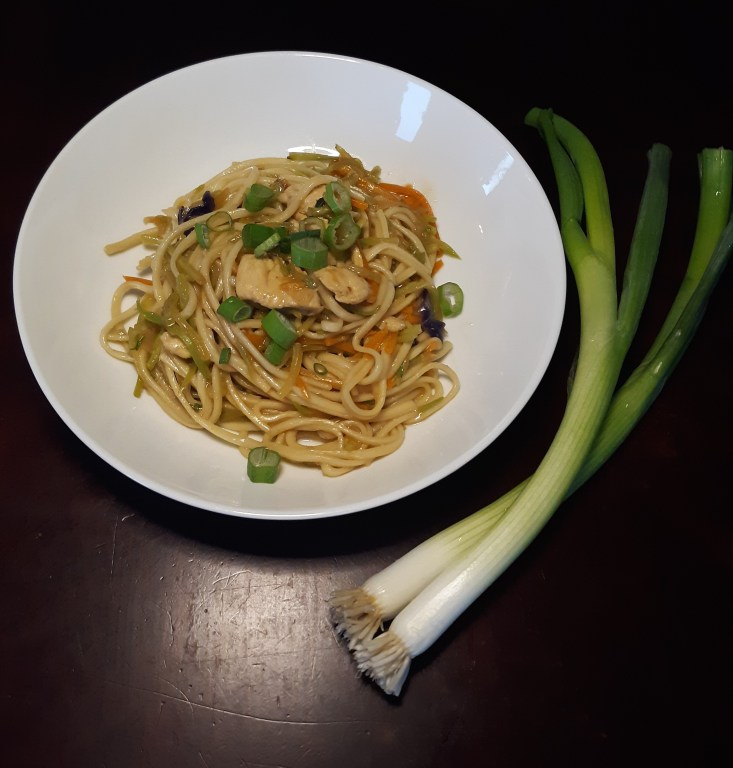 Chicken Lo Mein - and check out the size of those scallions!