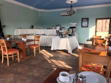 No restaurant, just a simple breakfast buffet.