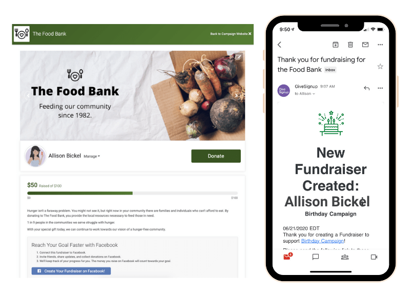 GiveSignup Fundraising Notification
