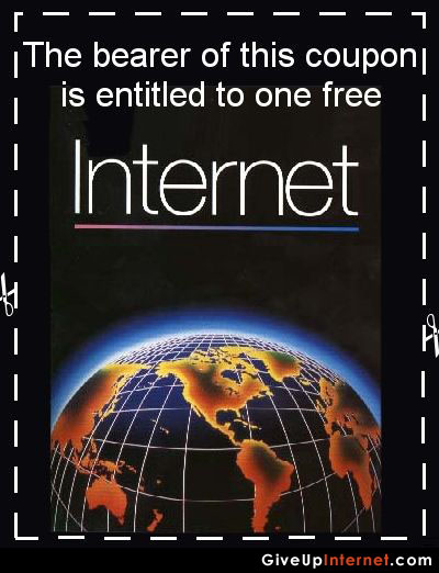 Coupon with a globe, promising One Free Internet