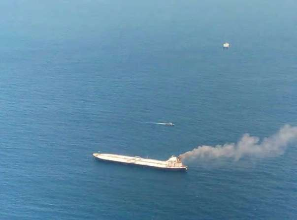 Crude oil carrier on Fire