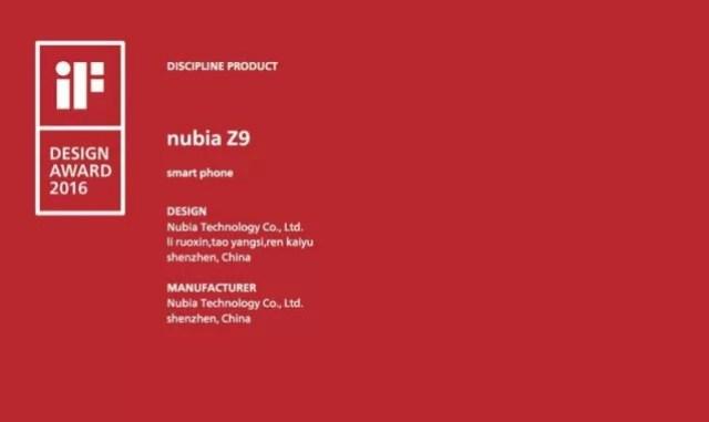 Nubia z9 if design awarda