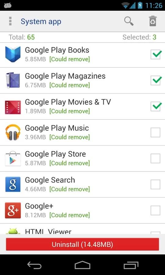 System App Remover, applicazione per Android