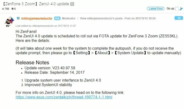 Asus Zenfone 3 Zoom ZenUI 4.0 aggiornamento
