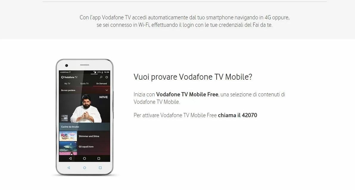 Vodafone TV Mobile gratis per tutti i clienti