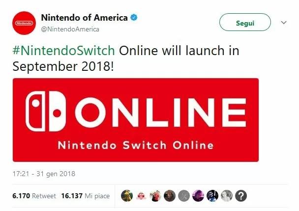 Il servizio online di Nintendo Switch partirà a settembre