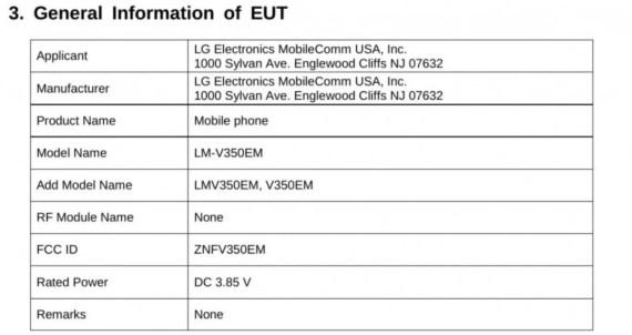 certificazione 2 fcc per lg v35 thinq