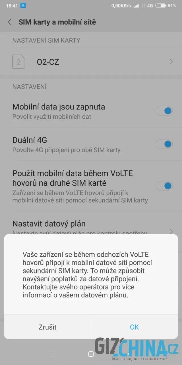 Jediná zmínka o VoLTE, kterou telefon nabízí