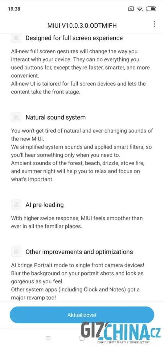 Informace o aktualizaci systému