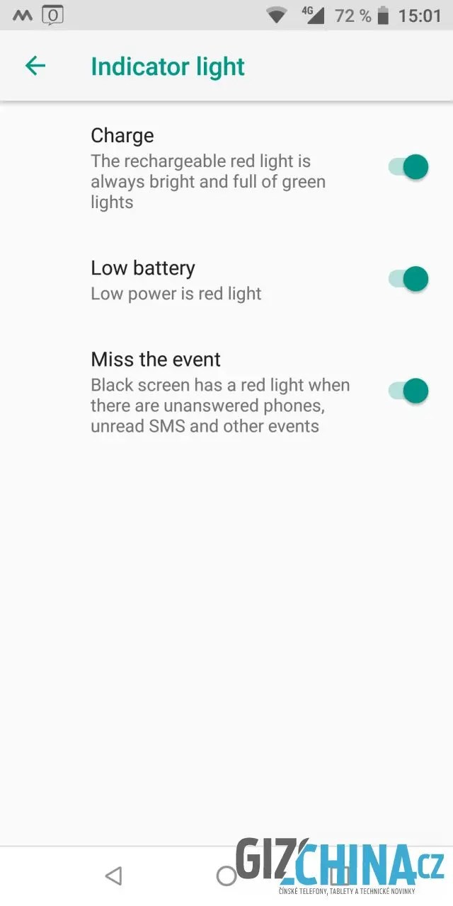 Nastavení notifikační LED