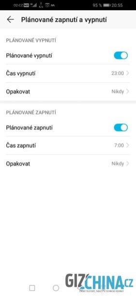 Telefon podporuje plánované zapnutí a vypnutí