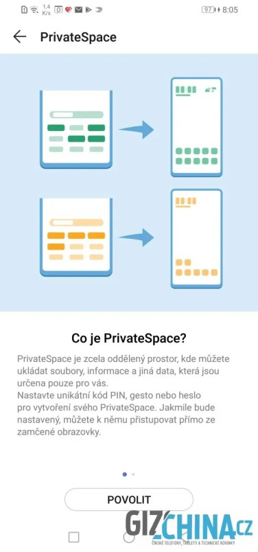 Nastavení soukromého prostoru