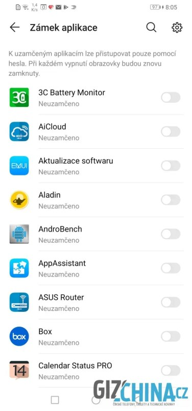 Výběr uzamčených aplikací