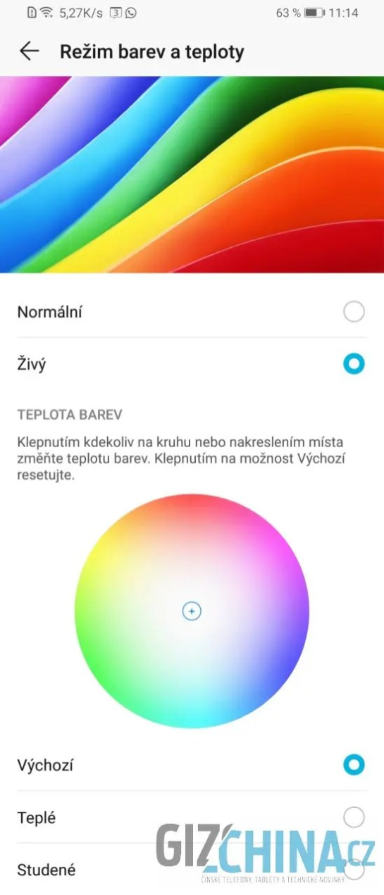 Možnosti úpravy teploty barev