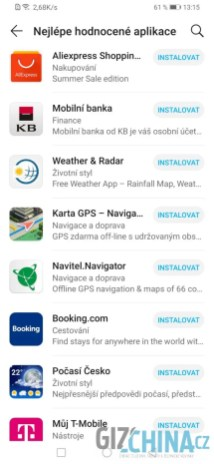 Výběr dostupných aplikací