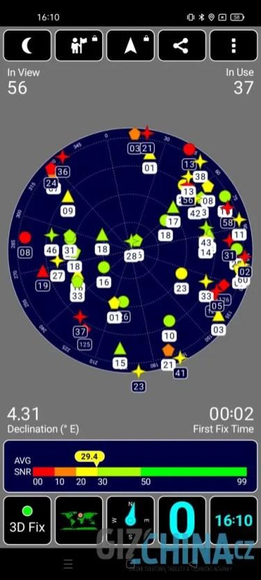 Telefon zachytí velké množství satelitů